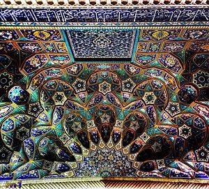 Ceiling of Shahe cheragh shrine in Shiraz, Iran.