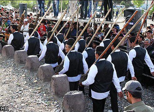 Nimvar people marching to start Bilgardani Ceremonies