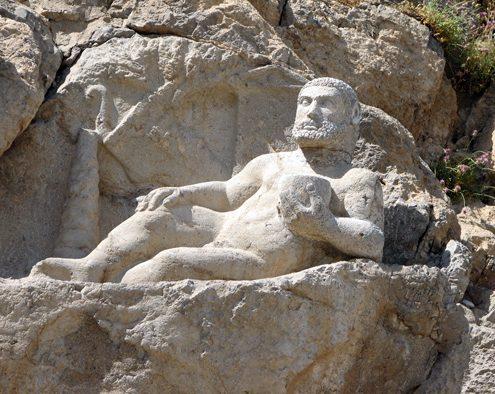 Statue of Herakles Recumbent at Bisotun