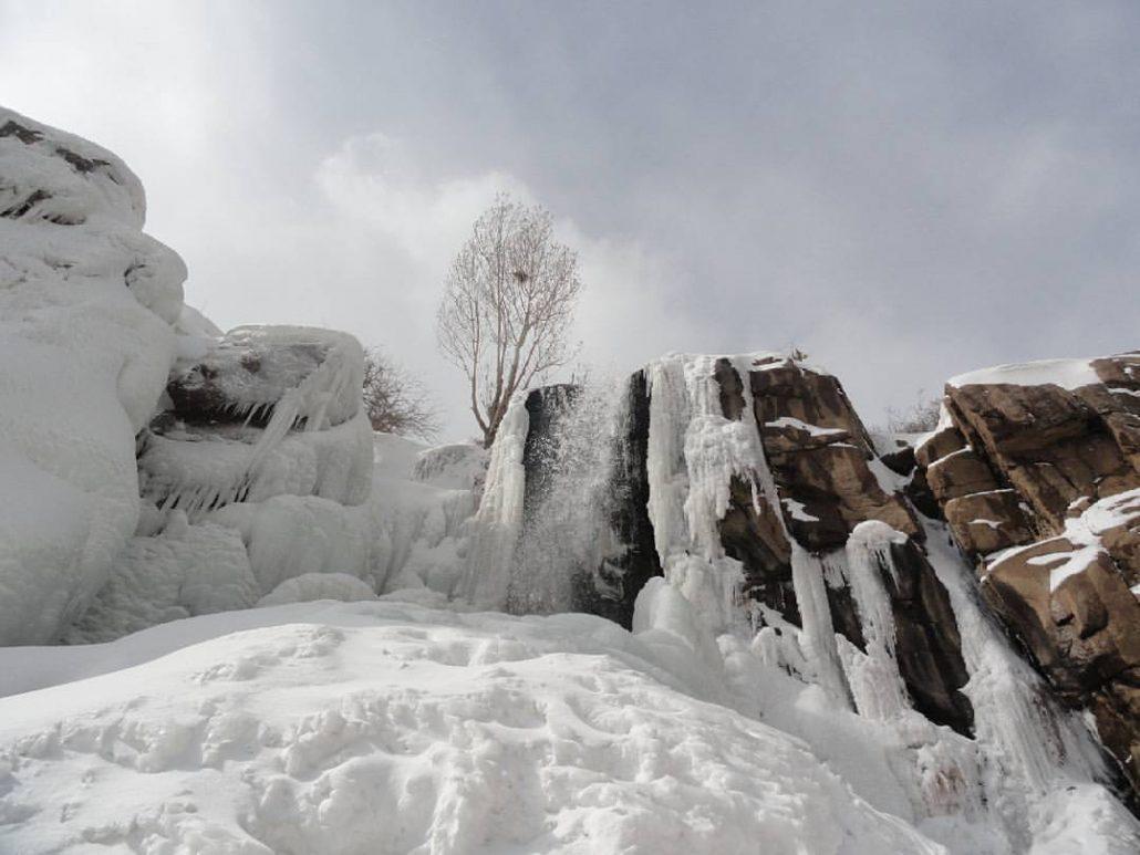Ganjnameh Waterfall in Winter