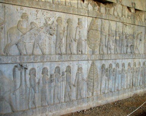 Apadana-Reliefs-495x394 Genral View of Part of Persepolis Shiraz Rock Tombs Persian Empire Persepolis Iran Empire Achaemenid Architecture Achaemenians Achaemenian