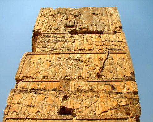 Rock-Relifs-495x394 Genral View of Part of Persepolis Rock Tombs Persian Empire Persepolis Achaemenid Architecture Achaemenians Achaemenian