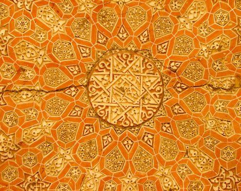 Orange-color decoration of Soltaniyeh balcony under its dome