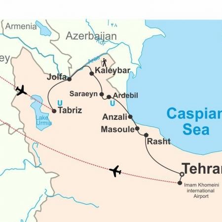 Caspian Sea Tour Map